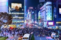 Croisement de Shibuya à Tokyo, Japon Photographie stock libre de droits