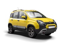 Croisement jaune de Fiat Panda Photos libres de droits