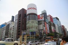 Croisement yon-chome de Ginza, Tokyo, Japon Photo libre de droits