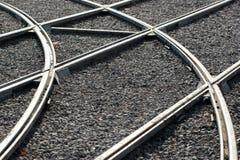 Croisements de rail comme fond de transport images libres de droits