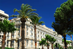 Croisette promenade in Cannes royalty free stock image