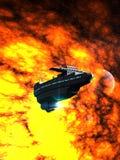 Croiseur de l'espace devant une belle nébuleuse 3D-Rendering Photos stock