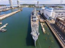 Croiseur lourd d'USS Salem CA-139, Quincy, mA, Etats-Unis images libres de droits