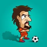 Croisez sa chemise d'orange de bande dessinée du football de bras Photo stock