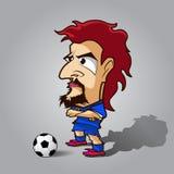 Croisez sa chemise de bleu de bande dessinée du football de bras Photos libres de droits
