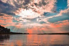 Croisière de coucher du soleil à la rivière de Chobe photographie stock