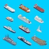 Croisière militaire de yacht de cargaison de 12 bateaux de voyage isométrique de vecteur Photographie stock
