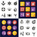 Croisière toute de bateau dans les icônes une noires et la conception plate de couleur blanche à main levée réglée Image stock
