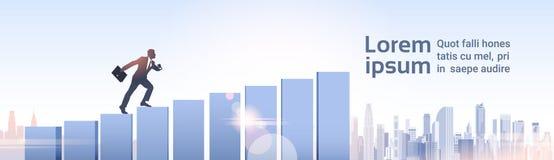Croissance d'homme d'affaires de graphique de Climb Financial Bar d'homme d'affaires de silhouette Photos stock