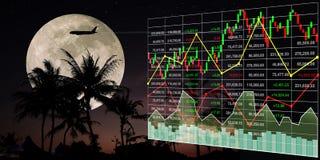 Croissance d'index de marché boursier des affaires de voyage de billet d'avion Photo libre de droits