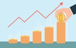 Croissance de Bitcoin conceptuelle avec des piles de pièces d'or Image libre de droits