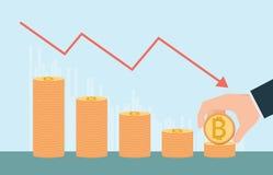 Croissance de Bitcoin conceptuelle avec des piles de pièces d'or en haut ou en bas i Image libre de droits