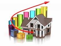 Croissance de Chambre et de graphique de marché de l'immobilier. Photos libres de droits
