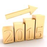 Croissance de diagramme d'or 2015 ans Photographie stock