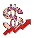 Croissance de signe d'argent liquide de peso mexicain Photo stock