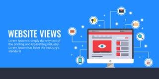 Croissance de trafic de site Web, vues de page, marketing en ligne, promotion, concept visuel de la publicité Illustration plate  Photographie stock