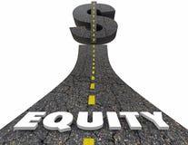 Croissance de valeur d'investissement de symbole dollar de route de capitaux propres Photo libre de droits