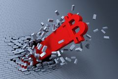 Croissance explosive de bitcoin, concept 3d Photos libres de droits