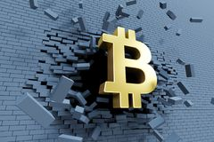 Croissance explosive de bitcoin, concept 3d Photo stock