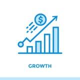 CROISSANCE linéaire d'icône des finances, encaissant Approprié aux apps mobiles Photo libre de droits