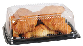 Croissant. In a take out plastic container Stock Image