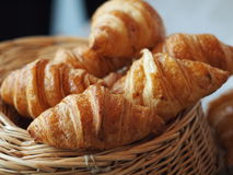 Croissant. Few croissant on a basket Royalty Free Stock Photos