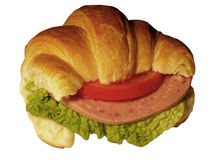 Croissant. Tasty croissant on white background Stock Photos