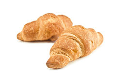 Croissant. Two crispy croissants isolated on white Royalty Free Stock Photos