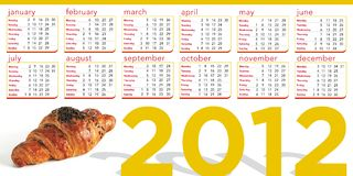 Croissant 2012 calendar Royalty Free Stock Photos