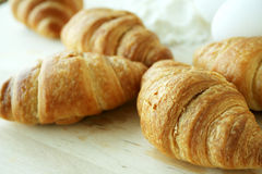 Croissant. Fresh croissant with milk & eggs Stock Photos