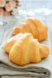 Croissant. Close-up continental breakfast with fresh croissant, glass Stock Images