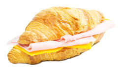 Croissant. With ham and cheese isolated on white background Royalty Free Stock Photo