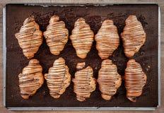 Ψημένος croissant σε δύο γραμμές Στοκ εικόνες με δικαίωμα ελεύθερης χρήσης
