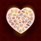 Croissant ajustado tirado mão dos confeitos do cartão Imagens de Stock Royalty Free