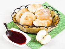 Croissant, bagels and jam, breakfast Royalty Free Stock Images