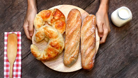Croissant and baguette Royalty Free Stock Photography