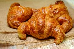 Croissant bakery pieces typical from france Royalty Free Stock Images