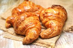 Croissant bakery pieces typical from france Royalty Free Stock Photo