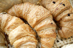 Croissant on basket royalty free stock image