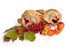 Croissant with berries and apples Royalty Free Stock Image