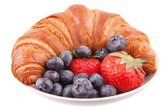 Croissant with berries Royalty Free Stock Photography