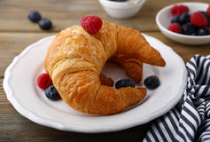 Croissant and berries Royalty Free Stock Images