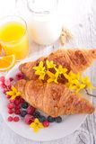 Croissant and berries Royalty Free Stock Photo