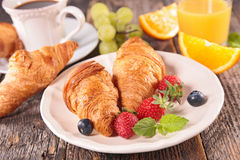 Croissant and berry Royalty Free Stock Images