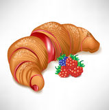 Croissant with berry cream filling Royalty Free Stock Images