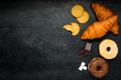 Croissant, Biscuits and Donuts on Copy Space Stock Image