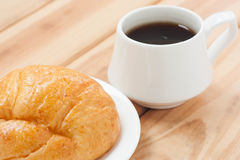 Croissant And Black Coffee Hot Morning Beverage Or Break Time. Royalty Free Stock Photos