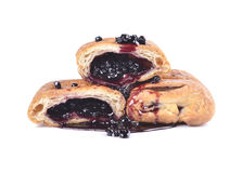 Croissant with blueberry jam Royalty Free Stock Image