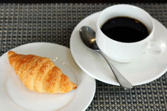 Croissant bread and coffee. Cup Royalty Free Stock Photography
