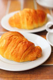 Croissant bread on dish Royalty Free Stock Images